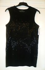 ALL SAINTS BLACK BEADED LADIES SLEEVELESS TOP-T-SHIRT,UK S/6,BRAND NEW WITH TAGS