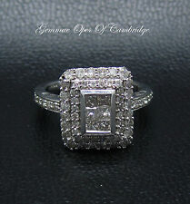 Stunning 9ct Gold Tiered 1.4ct Princess & Round cut Diamond Cluster Ring Size N