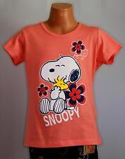 Mädchen Kinder T-Shirt Peanuts Snoopy Kurzarm Apricot Orange Druck 128/134 NEU
