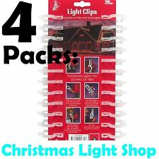 4 Packs of 24 Gutter Hooks Christmas Outdoor Accessories Hanging LED Rope Lights