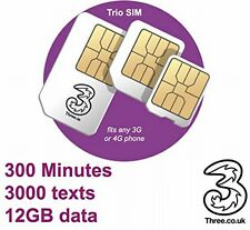 Three 3-2-1 PAYG Trio SIM Card with £20 Credit (Std/Micro/Nano) 4G Network 12GB