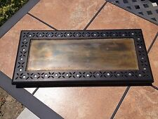 """Vintage Wooden Carved Serving Tray Platter With Brass/Copper 22"""" x 10"""""""