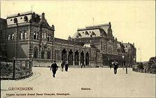 Groningen Holland Briefkaart ~1900/10 Station Strassen Partie am Bahnhof alte AK