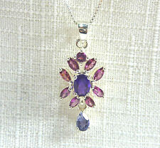 2.43ct Amethyst, Rhodolite Garnet Lolite Solid 925 Sterling Silver Necklace