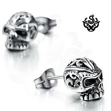 Silver stud swarovski crystal stainless steel skull earrings soft gothic