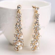 Elegant Crystal Rhinestone Pearl Drop Long Dangle Earrings Women Fashion Jewelry