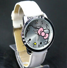 Hello Kitty Watch White Leather Band Stainless Steel Casing