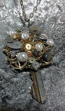 Steampunk Anhänger Schlüssel mit Kette Zahnräder viktorianisch Metall Bronze