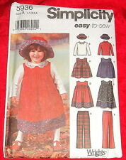 SIMPLICITY SEWING PATTERN..TODDLERS JUMPER DRESS TROUSERS HAT  & TOP 5936 UNCUT