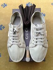 New Gucci Men's Trainers Sneakers Canvas Espadrile Lace Up Shoes UK 8 US 9 42