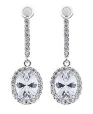 CLIP ON EARRINGS - silver plated drop earring CZ crystals & stone - Meryl C