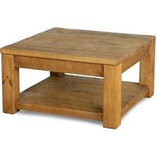 """""""any size made""""  SOLID WOOD RUSTIC PLANK PINE SQUARE COFFEE TABLE SHELF SIDE END"""