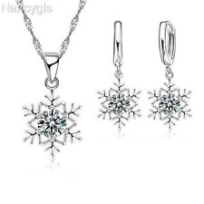 925 Silver Crystal Snowflake Necklace and Earrings Christmas Gift Jewellery Set