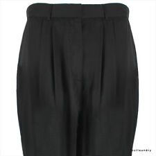 The Row Jet Black Tailored Double Pleated Tapered Leg Trousers Pants US4 IT40