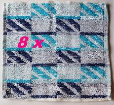 8 Stück Waschlappen Seiftuch 23 cm  x 23 cm Blau gemustert 100 % Baumwolle