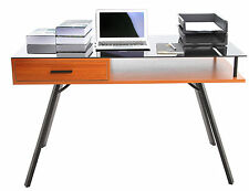 Classic Glass Top Computer PC Laptop Desk Home Office Study Table with Drawer