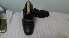 Mens Genuine Vintage Hugo Boss Black Leather Slip on Shoes Size UK 7