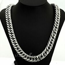 "34"" 18K Men's White Gold Chain Stoneless Silver Necklace Birthday Gift Husband"