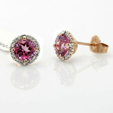 $534 FINE 14K ROSE GOLD PAVE DIAMOND 2.37C PINK TOPAZ STUD STUDS EARRINGS