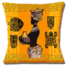 """AFRICAN TRIBAL LADY ORANGE YELLOW BROWN SHADES ETHNIC 16"""" Pillow Cushion Cover"""