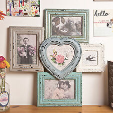 Shabby Chic Heart Multi Photo Frame - Vintage Style Wall Decoration - Gift