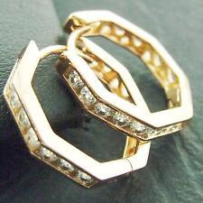 AN373 GENUINE 18K ROSE G/F GOLD DIAMOND SIMULATED VINTAGE DESIGN HOOP EARRINGS