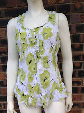 Millers Ladies Crush Top Lime Floral Size 18