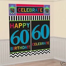 6FT HAPPY 60TH BIRTHDAY PARTY SCENE SETTER WALL BANNER DECORATION KIT PHOTO PROP