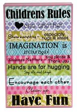 Adorable Cute Fun For Childrens Wall Deco 'Childrens Rules' Wooden Sign