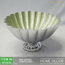 Green steel silver christmas gift decorative LARGE serving fruit lolly bowl dish