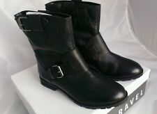 New Ravel Ladies Double Buckle Biker Style Ankle Boots_Womans Black Leather uk 7