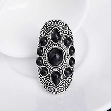 Lovely Vintage Gothic Retro Carved Tibetan Silver Black Stone Ring HOT