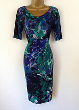 M&S Blue Green Floral Wiggle Shift Evening Dress Party Cruise New UK Size 14