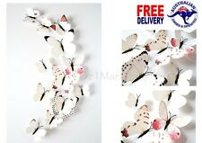 12Pcs 3D White Butterfly Wall Decals Removable Sticker Art Kids Magnets Decor