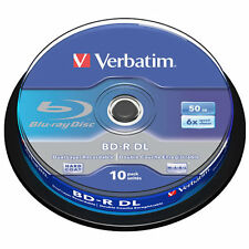 10 Verbatim Blu Ray BDR 50GB Double Layer 6x BLU-RAY Disc Spindle Branded 43746