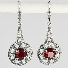 Ohrringe lang  Silber Swarovski Kristall Rund – Vintage Retro – Siam rot