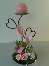 BALL CANDLE HOLDER decorated with hearts & pink tulips & rose Gift Wedding