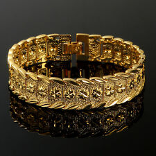 Solid 24K Yellow Gold Filled Mens Bracelet Cuff Bangle Chain Wristband 7.87""
