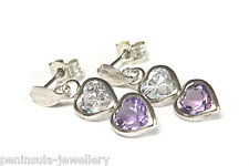 9ct White Gold Amethyst Heart Drop Earrings Boxed Made in UK