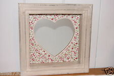 Vintage Chic Floral Rustic Hanging Heart Mirror Box Frame
