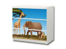 """""""Tierwelt Afrika"""" Aufkleber passend für Kommode IKEA MALM (3 Fächer) - M3K16"""