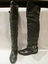 RIVER ISLAND BLACK LEATHER OVER THE KNEE PULL ON BOOTS UK 4  314