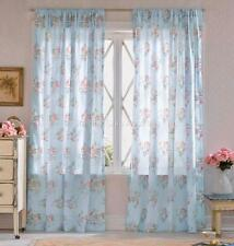 2 Simply Shabby Chic Voile Sheer Roses Blue Curtains Drape Panels Chic More Avai