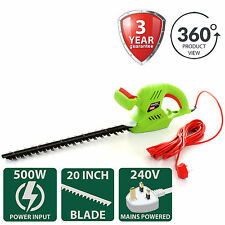 "500W Hedge Trimmer Electric Shear Cutter Garden Power Tool 510mm/20"" Metal Blade"