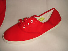 New Asos Womens Bright Red Canvas Lace Up Sneaker Deck Shoes EU 40 UK 7