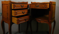 Vintage Paire French Country Provincial Louis Nightstands Tables Bedside Draws