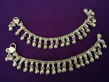 """Ethnic child silver chain bells anklet set ankle bracelet Indian foot jewelry 7"""""""