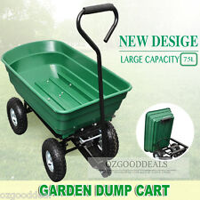 New Outdoor Garden Dump Tip Trolley Cart Barrow with Steel Frame Green S