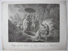Philippus tauft Kämmerer der Kandace Orig Kupferstich Guttenberg Dietrich 1800