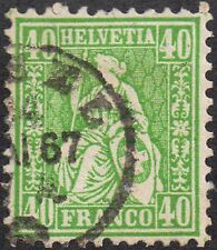 Switzerland 1863 40c single green Helvetia sg 58 used